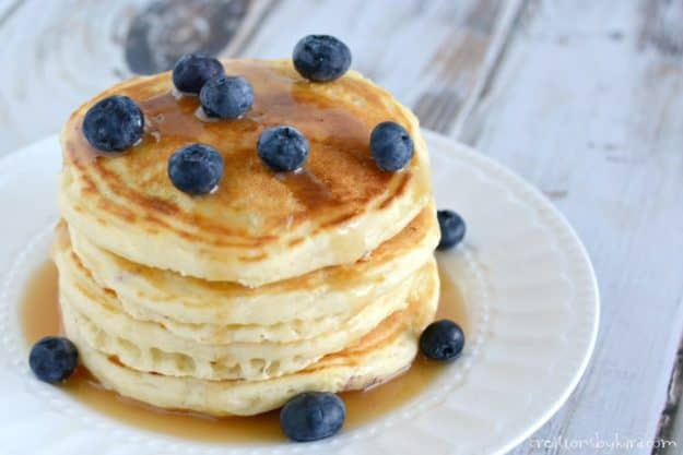 Quick, easy, and delicious blueberry pancakes. Serve them with buttermilk syrup for a perfect breakfast!