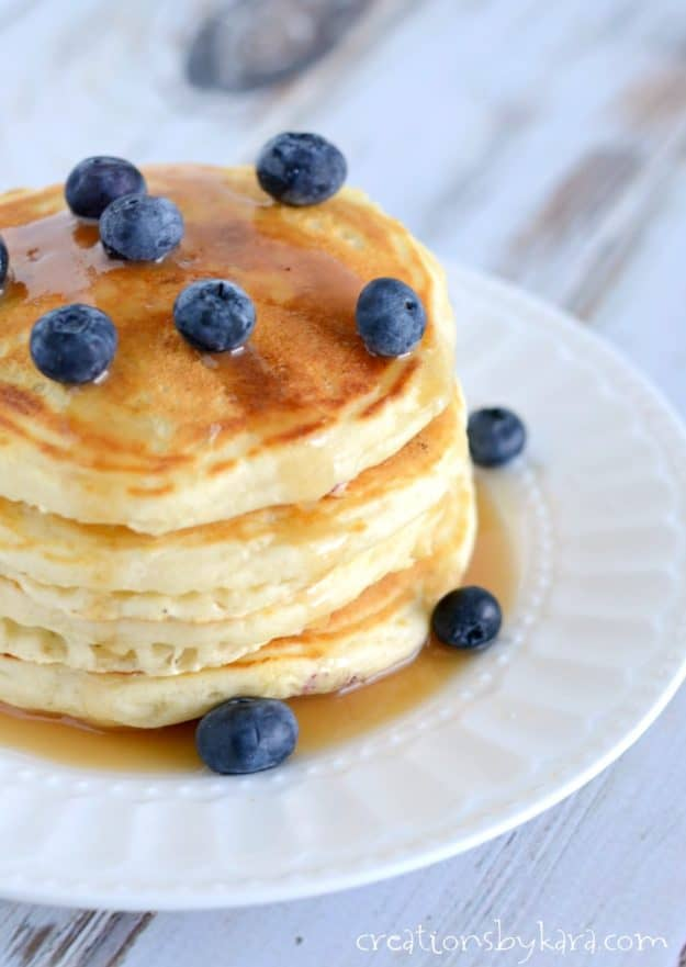 Blueberry Pancakes are always a tasty breakfast. A simple and delicious blueberry pancake recipe.